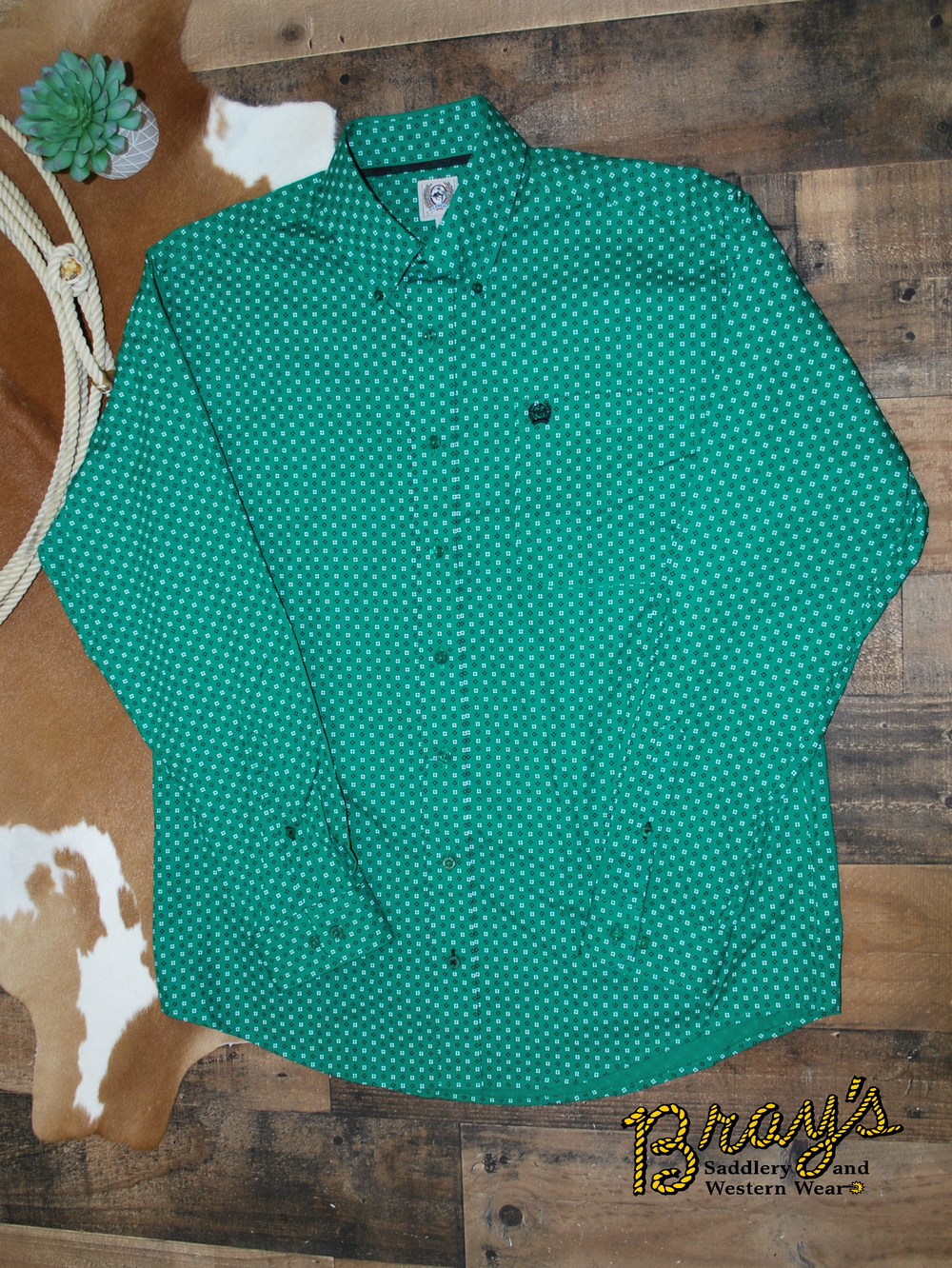 Cinch Green, White, Navy Micro-Geometric Print Button Shirt