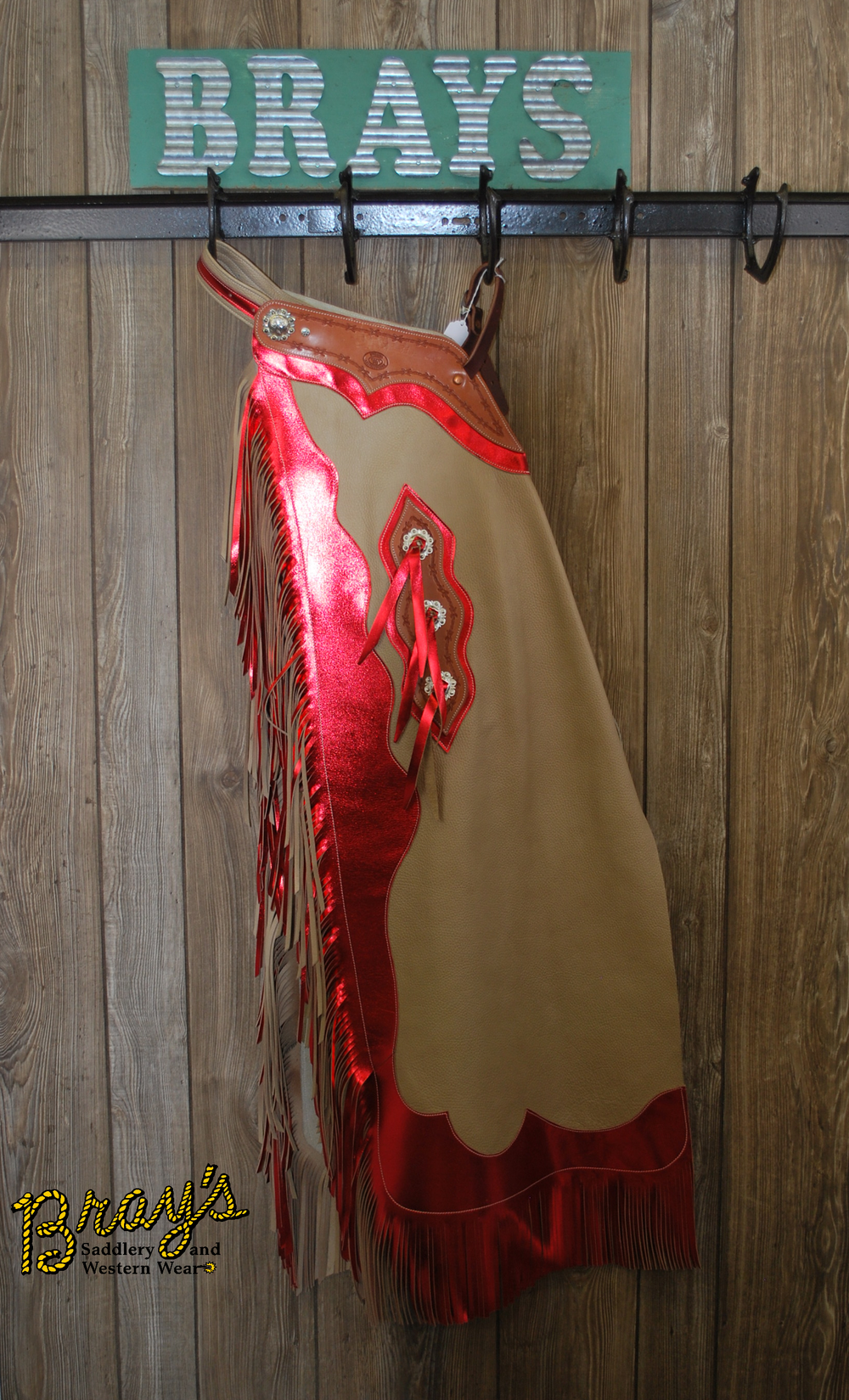 Rodeo Chaps {Tan and Red}