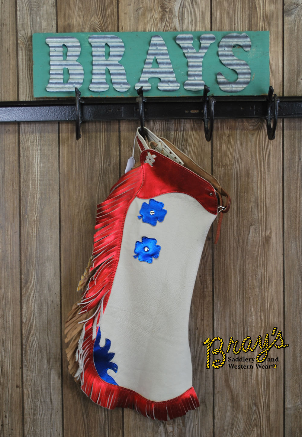 Youth Rodeo Chaps {White, Red, Blue}