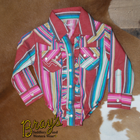 Wrangler Girl's Red & Turquoise Serape with Ruffle Front Long Sleeve Western Onesie