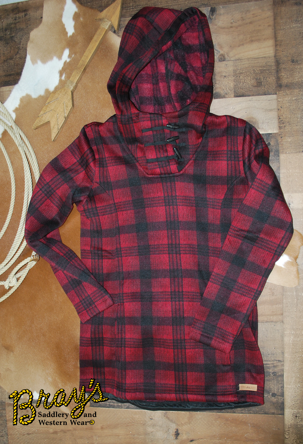 Powder River Outfitters Red and Black Buffalo Plaid Hoodie