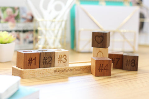 employee anniversary gifts wooden blocks with tray