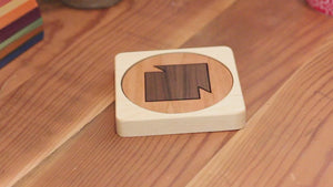 eco friendly wooden coaster puzzle corporate sponsor gift idea Smiling Tree Gifts
