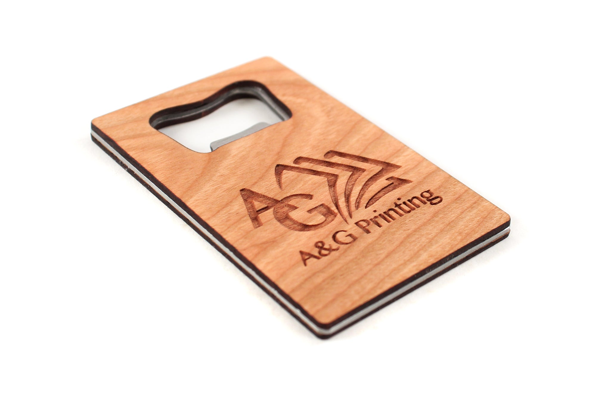 eco-friendly sustainable wooden bottle opener with logo Smiling Tree Gifts USA