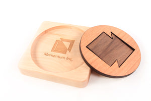 wooden coaster with logo eco-friendly employee gift idea