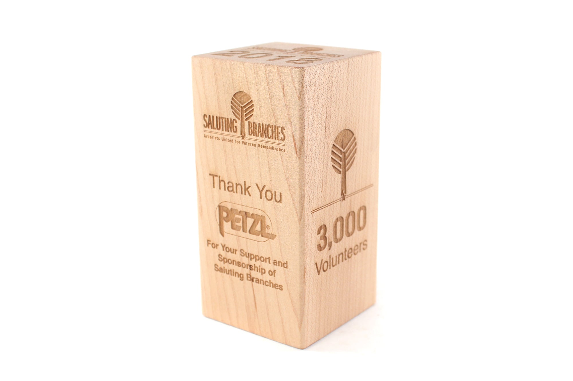 custom engraved wooden block for award sponsor thank you gift Smiling Tree Corporate Gifts engraved wood blocks