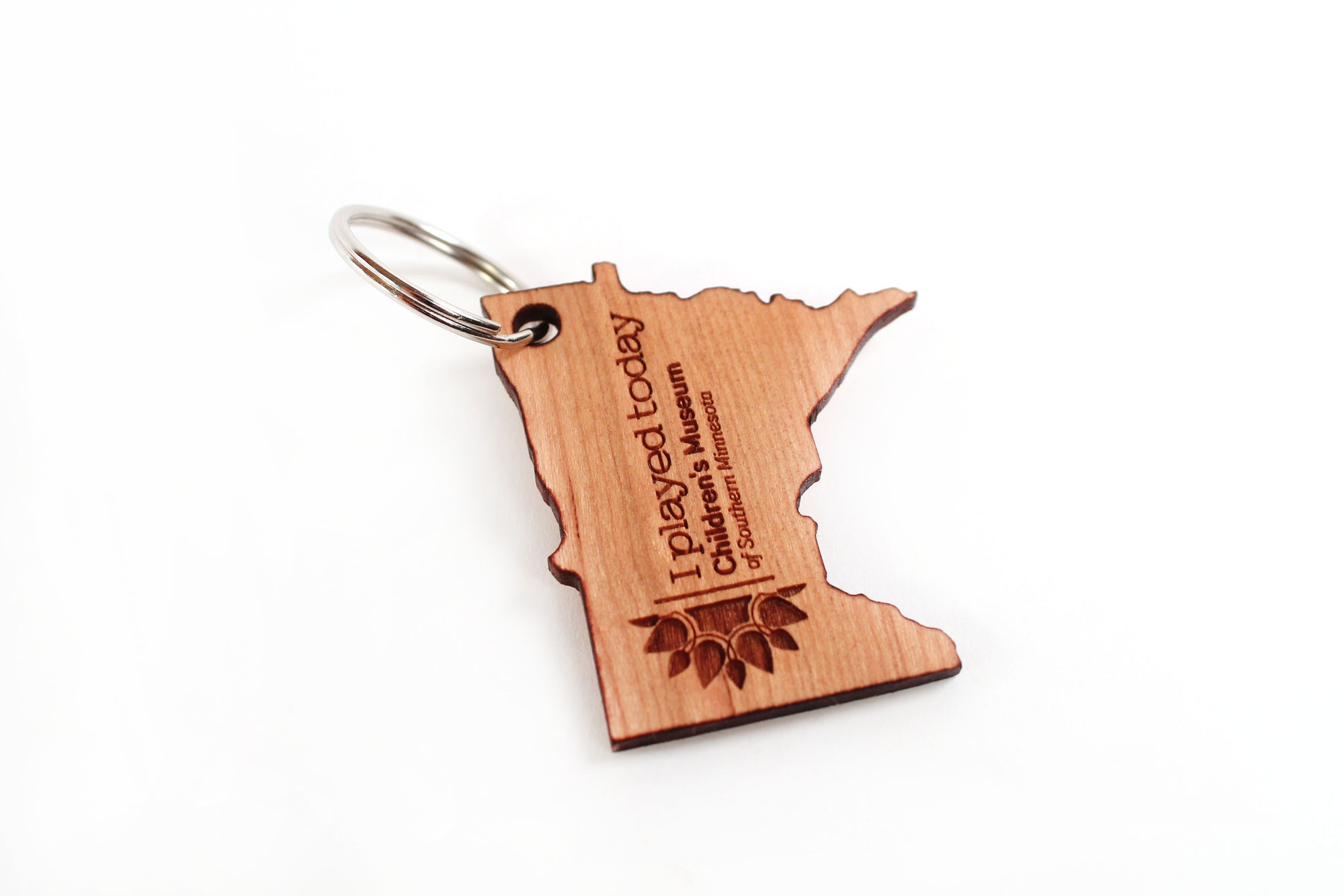 engraved promotional wood keychain eco-friendly and made in the USA