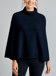 MerinoSnug Melbourne Roll Neck Poncho - Military Navy