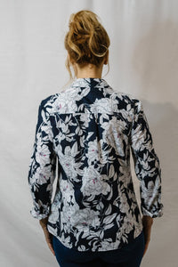 Goondiwind  Long Sleeve Classic Shirt - Navy / White Floral Print