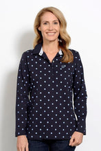 Load image into Gallery viewer, Goondiwind Spot Print Rugby Top - Navy / Chambray