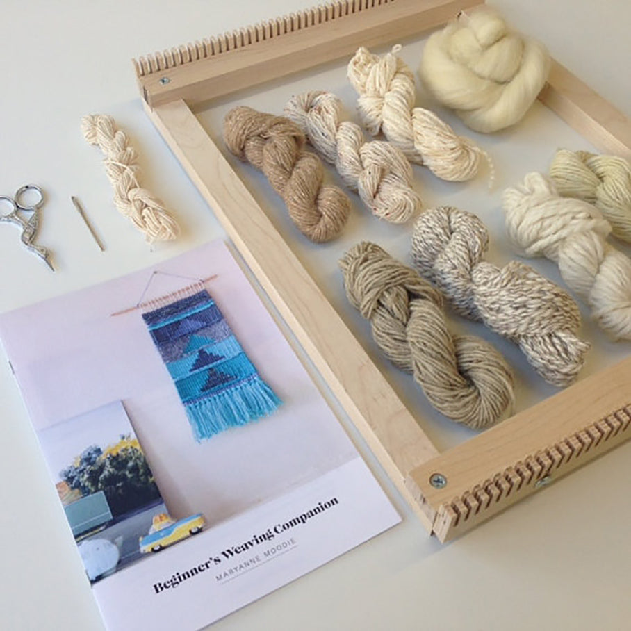 pamphlet and loom and yarn from Maryanne Moodie Weaving Kit
