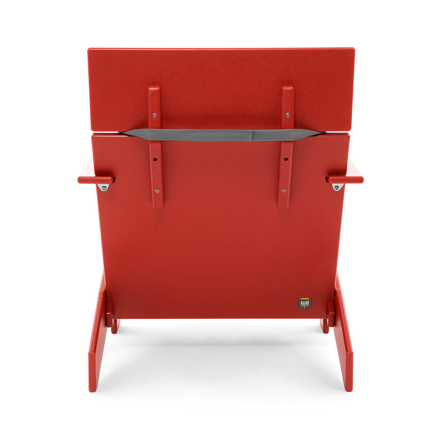 back of red lollygagger lounge chair with cushion strapped on