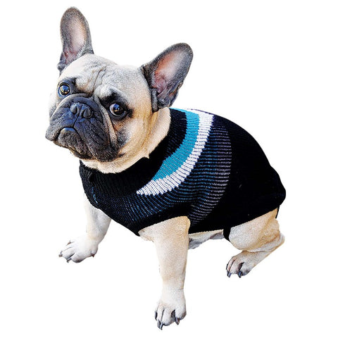 Dog Jumper Blue, White, Black 45cm