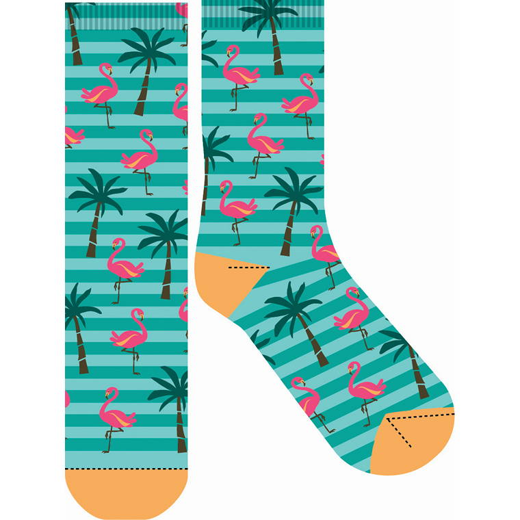 Flamingo Palm Crazy Sock