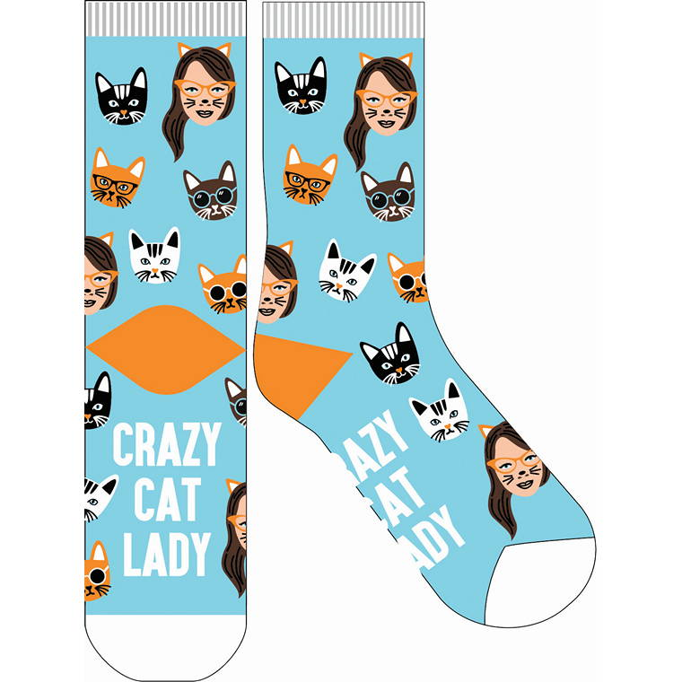 Crazy Cat Lady Crazy Sock