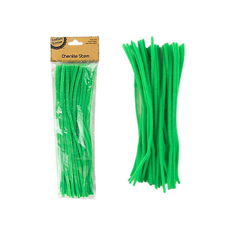 Chenille Stems, Green, 50pk
