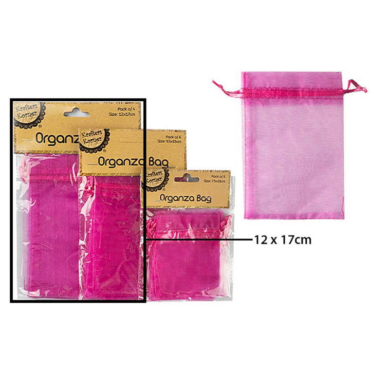 Organza Bag, Hot Pink, 4pk