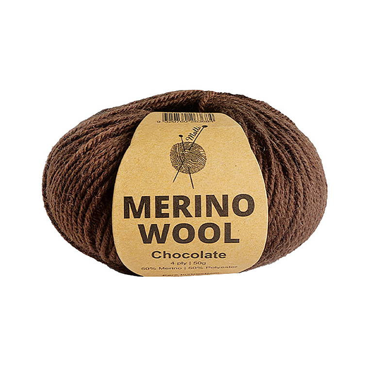 Merino Wool , Chocolate , 50 Grams , 50% Merino & 50% Polyester