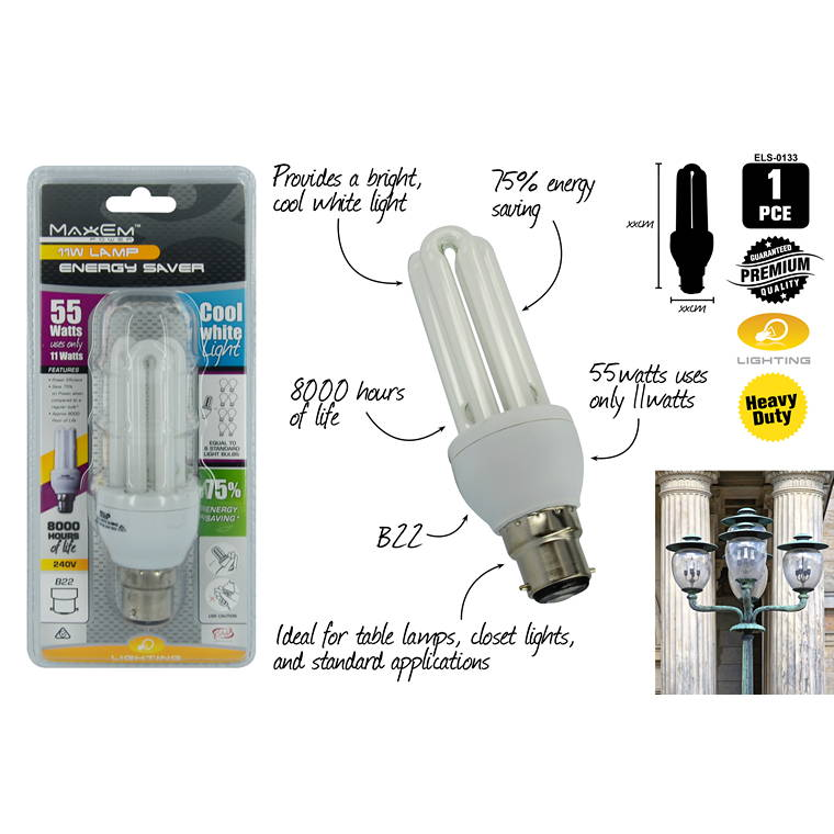 Energy Saver Lights, Cool White, 55W/11W Pin