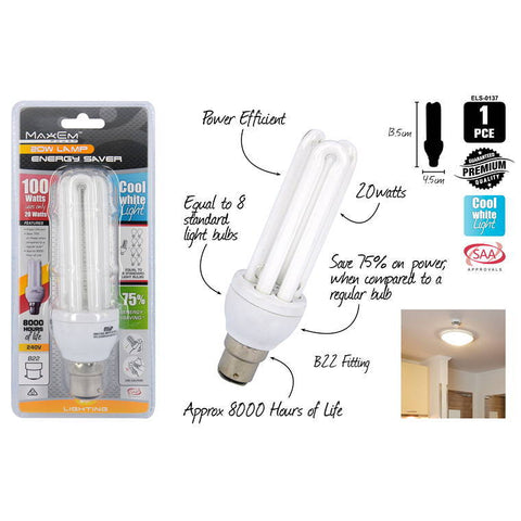 Energy Saver Lights, Cool White, 100W/20W Pin