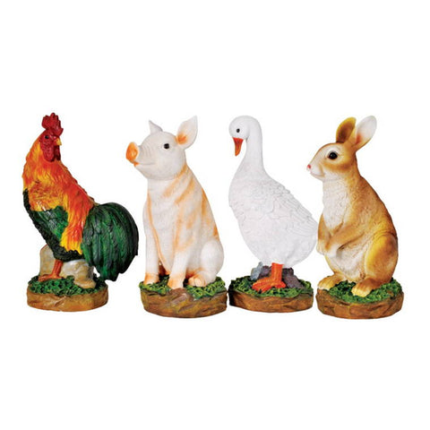 Garden Ornament, Farm Animals,  4 Assorted, Duck, Bunny, Pig, Rooster