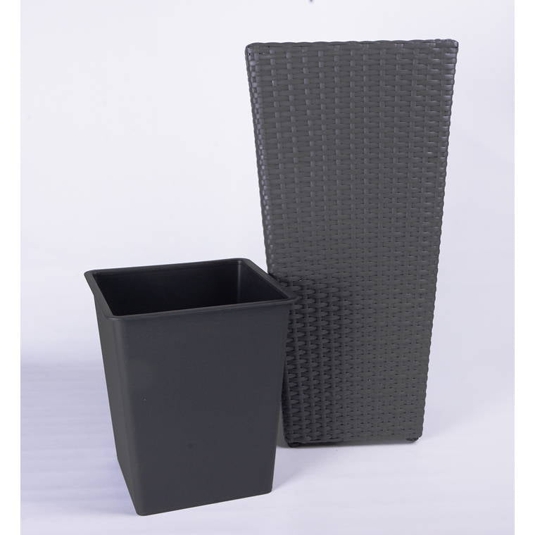 Polywicker Planter 31x31x64cm With Plastic Liner in Anthracite Finish