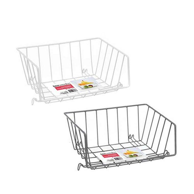 Wire Stackable Storage Basket, 29X22X12cm, 2 Assorted