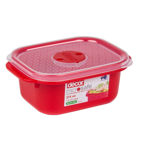Microsafe Oblong 375Ml Red/Clear