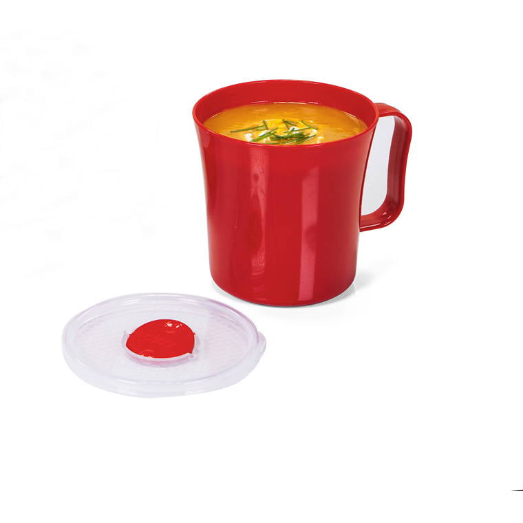 Microsafe Soup Mug 500Ml Red/Clear