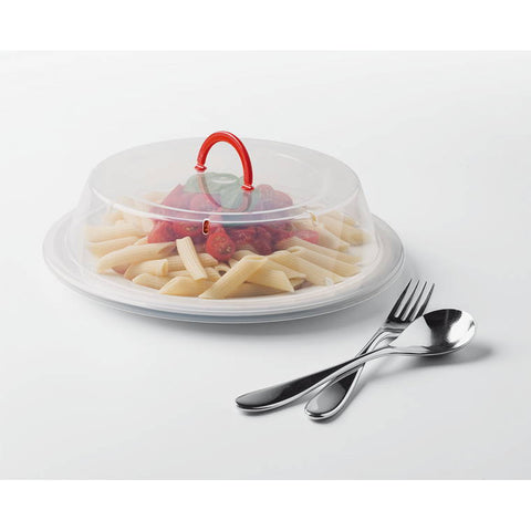 Microsafe Plate Cover with Handle Clear/Red