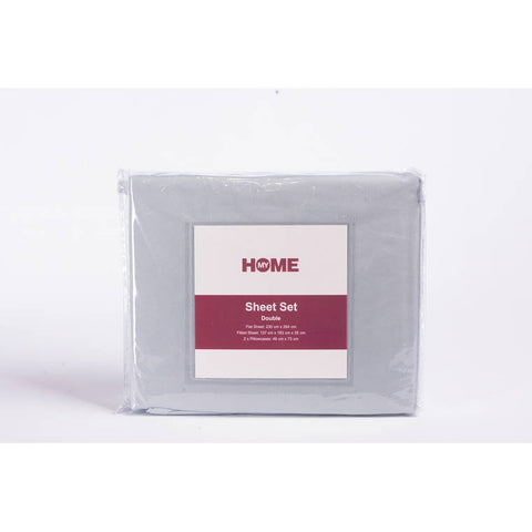MY HOME MICROFIBRE SHEET SET DOUBLE GREY