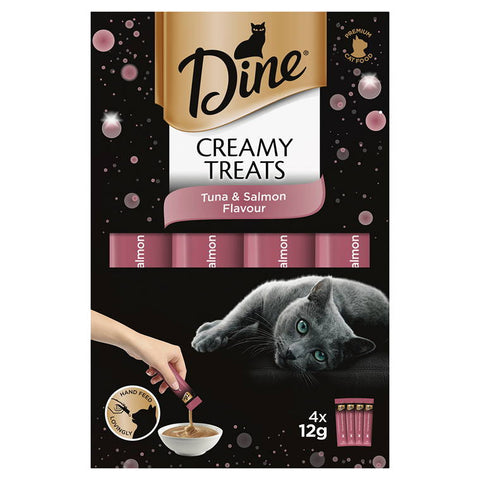 DINE Creamy Treats Tuna and Salmon Flavour, 4x12g