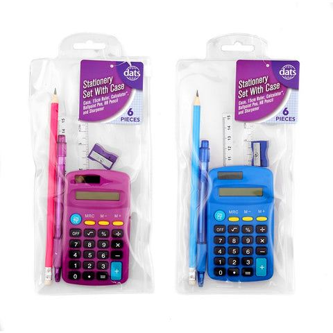 Pencil Case 6pc w Ruler, Calculator, Pen, Pencil, Sharpener