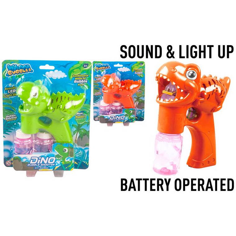 Dino Bubble Maker with 2X50ml Solution, Battery Operated