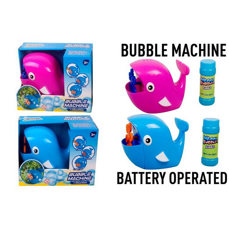 Whale Bubble Machine with  Bubbles, Bateery Operated, 2pcs