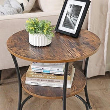 Load image into Gallery viewer, 2 Shelves Round End Table Industrial - Plugsusa