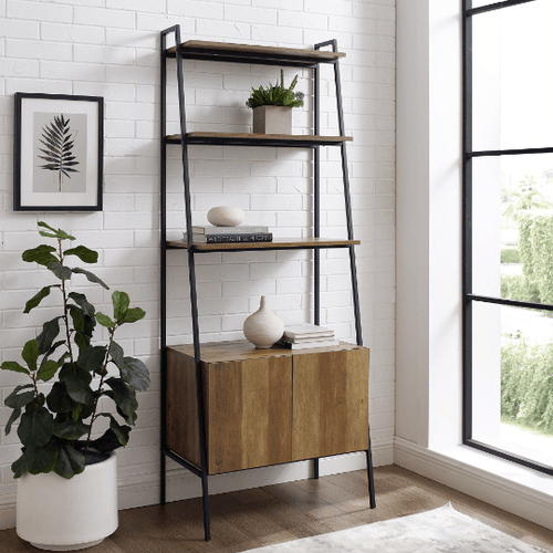 4-Shelf Ladder Bookshelf With Drawer - Plugsusa