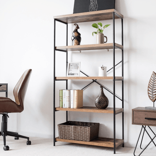 4 Tier Bookcase Industrial Rack Storage Shelf - Plugsusa