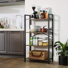 Load image into Gallery viewer, 4 Tier Industrial Ladder Shelf Bookcase - Plugsusa