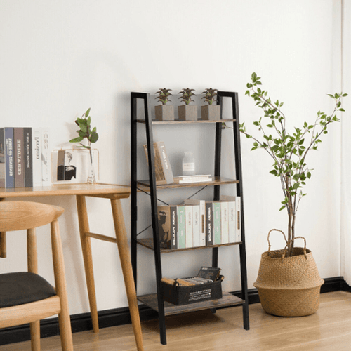 4 Tier Rustic Ladder Shelf With Metal Frame - Plugsusa