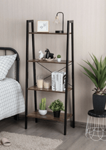 Load image into Gallery viewer, 4 Tier Rustic Ladder Shelf With Metal Frame - Plugsusa