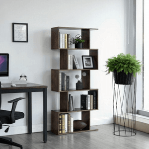 5 Tier Z-Shelf Style Modern Bookshelf - Plugsusa