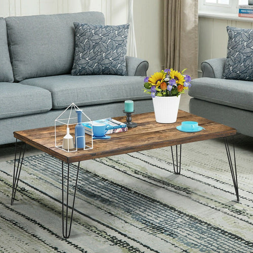 Anmas Modernity Coffee Table With Hairpin Legs - Plugsusa