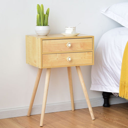 Anmas Modernity Nightstand End Side Table With 2 Drawers - Plugsusa