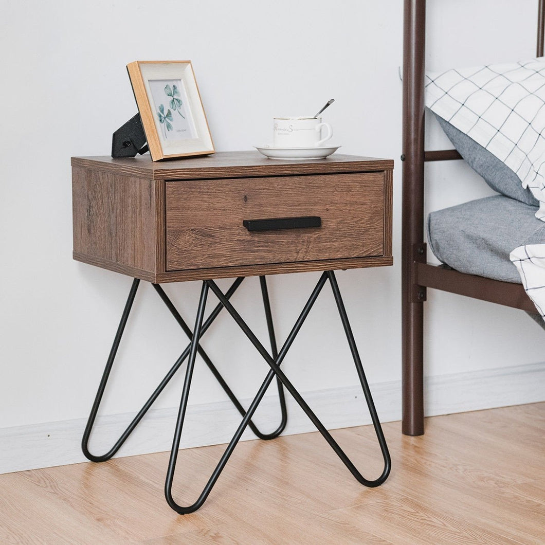 Anmas Nightstand End Side Table With Steel Legs - Plugsusa