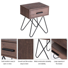 Load image into Gallery viewer, Anmas Nightstand End Side Table With Steel Legs - Plugsusa
