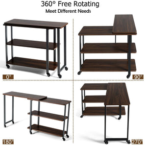 Anmas Sofa Side Table Office Desk with Storage Shelves & Wheels 360° Rotating - Plugsusa