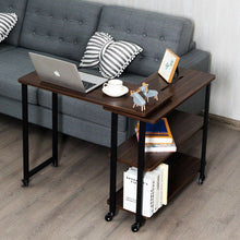 Load image into Gallery viewer, Anmas Sofa Side Table Office Desk with Storage Shelves & Wheels 360° Rotating - Plugsusa
