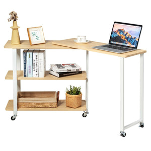 Anmas Sofa Side Table Office Desk with Storage Shelves & Wheels 360° Rotating - Plugsus Home Furniture