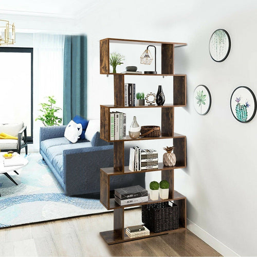 Anmas Z-Shelf Style Bookshelf With 6 Tier - Plugsusa